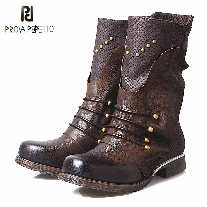 Prova Perfetto Big Size England Style Rivets Patchwork Low Heel Woman Boot Genuine Leather Thick Bottom Zipper-side Martin Boots prova perfetto red color punk style genuine leather thick bottom woman mid boots solid round toe low heel rivet martin boots