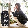 Plus size japonês mori menina solta de manga longa das mulheres bonito kawaii rendas bordado floral de crochê feminino dress vestido a024