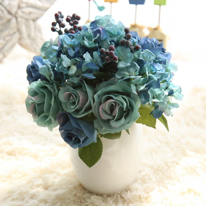 1 Bunch 6pcs Artificial Flowers Blue Rose Silk Flower Bouquet For Home Decoration Hydrangea Fake