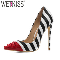 WETKISS Studded High Heels 12cm Stilettos Women Pointed Toe Rivet Ladies Party Pumps Zebra Shallow Colorful Shoes Woman 34 45