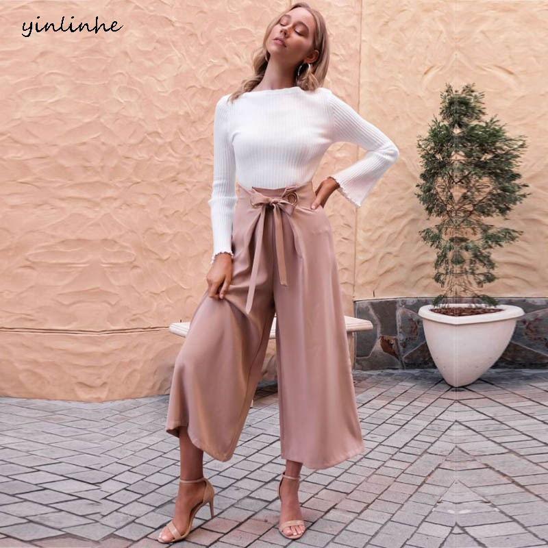 yinlinhe Loose Pink   Wide     Leg     Pant   Women High Waist Female   Pant   Spring 2019 Belt bow tied Fashion ladies Straight trousers 785