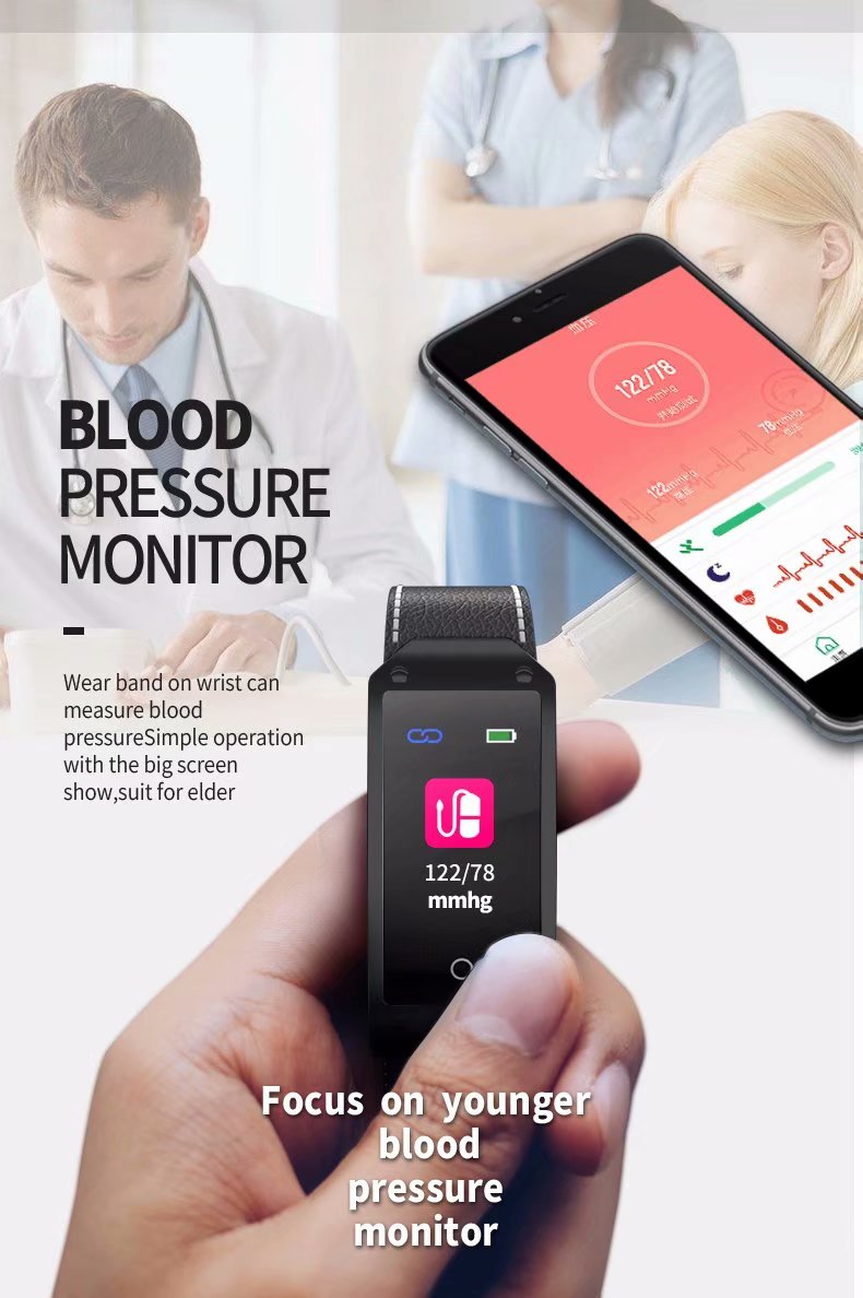 Leather Strap Classic Women Smart Watch Blood Pressure Heart Rate Monitor Fitness Bracelet <font><b>Smartwatch</b></font> For Android and IOS Phone image