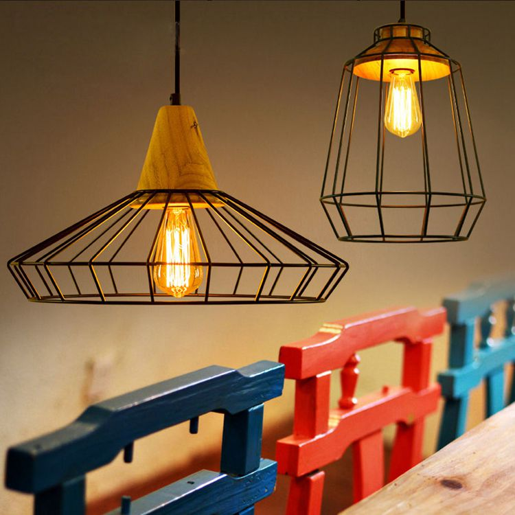 Edison Retro Industrial Wrought Iron Wood Pendant Hanging Lamp Lights for Dining Room Shop Cafe Bar Restaurant Droplight BlackEdison Retro Industrial Wrought Iron Wood Pendant Hanging Lamp Lights for Dining Room Shop Cafe Bar Restaurant Droplight Black