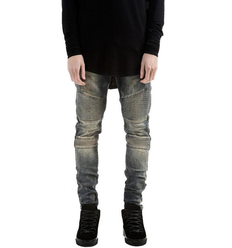 XIANGYIHUI Mens Strech ripped biker jeans skinny light blue Distressed kanye west designer brand hip hop streetwear swag pants