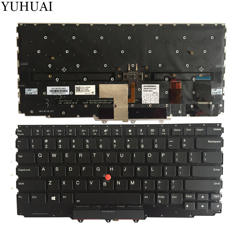 New US keyboard for Lenovo IBM ThinkPad X1 Carbon 2017 5th US laptop keyboard Black Backlit new english laptop keyboard for thinkpad e531 l540 e540 w540 w541 t550 t540p us keyboard replacement fru 01ax160