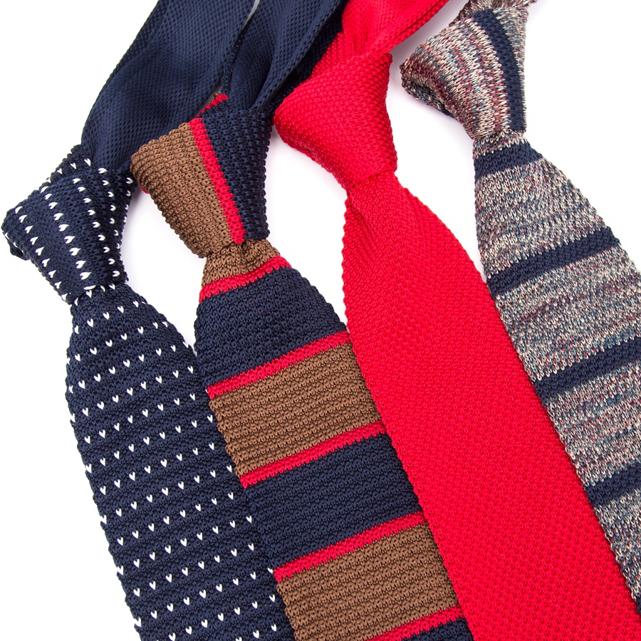 Men Knitted Knit Leisure Triangle Striped Tie Normal Sharp Corner Neck Ties For Men Skinny Necktie Classic Woven Designer Cravat