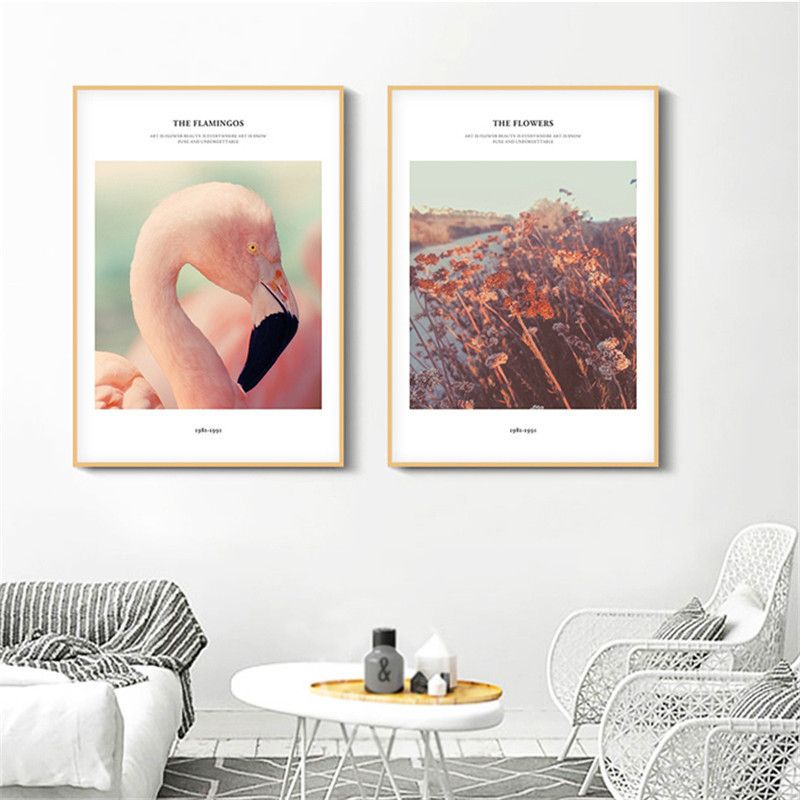 Bedroom Art Supplies: HAOCHU Landscape Flamingo Home Decor Canvas Animal Letter