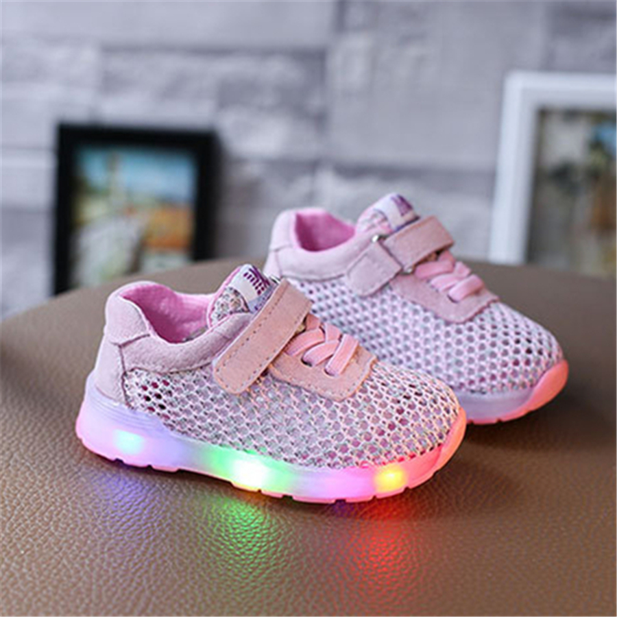 Girls Colorful Led Children Shoes Sneakers With Light Up Soles Summer Mesh Glowing Sneakers Led Luminous Shoes 50Z0056 size 36 43 led shoes glowing 7 colors led women fashion luminous led light up shoes for adults