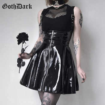 Goth Dark  Solid Leather Vintage Skirts Zipper Pleated Slim Gothic Skirt Lady Trendy High Waist Black Short Skirt Female Summer - DISCOUNT ITEM  40% OFF All Category