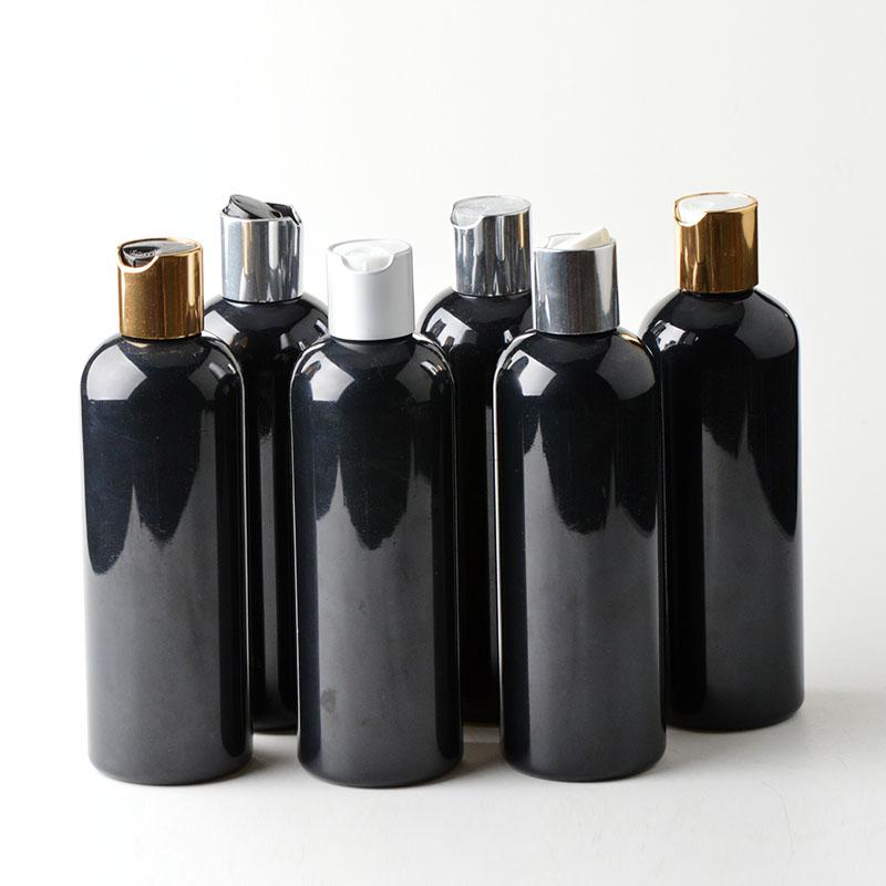 30pcs 300ml Disc top Cap black bottle Empty Plastic Bottle PET Lotion Bottle plastic empty bottles