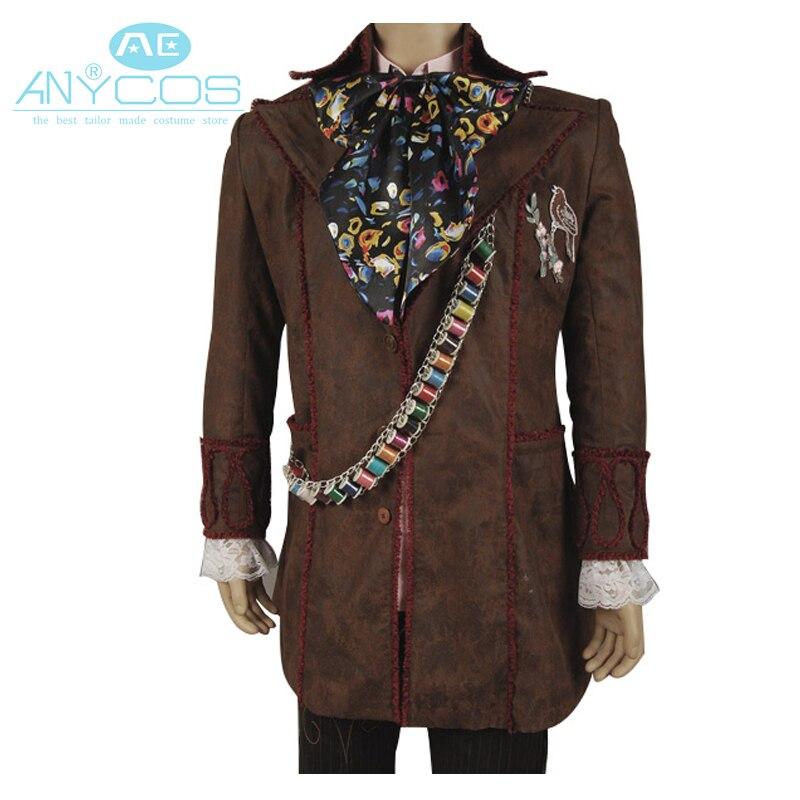Алиса в стране чудес Косплэй костюм Джонни Депп Безумный Шляпник куртка Брюки для девочек галстук 6 шт. форменная куртка Брюки для девочек н