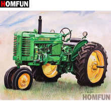 "Homfun 5D Diy Penuh Diamond Bordir ""Green Traktor"" Diamond Lukisan Cross Stitch Rhinestone Rumah Dekorasi A07468(China)"