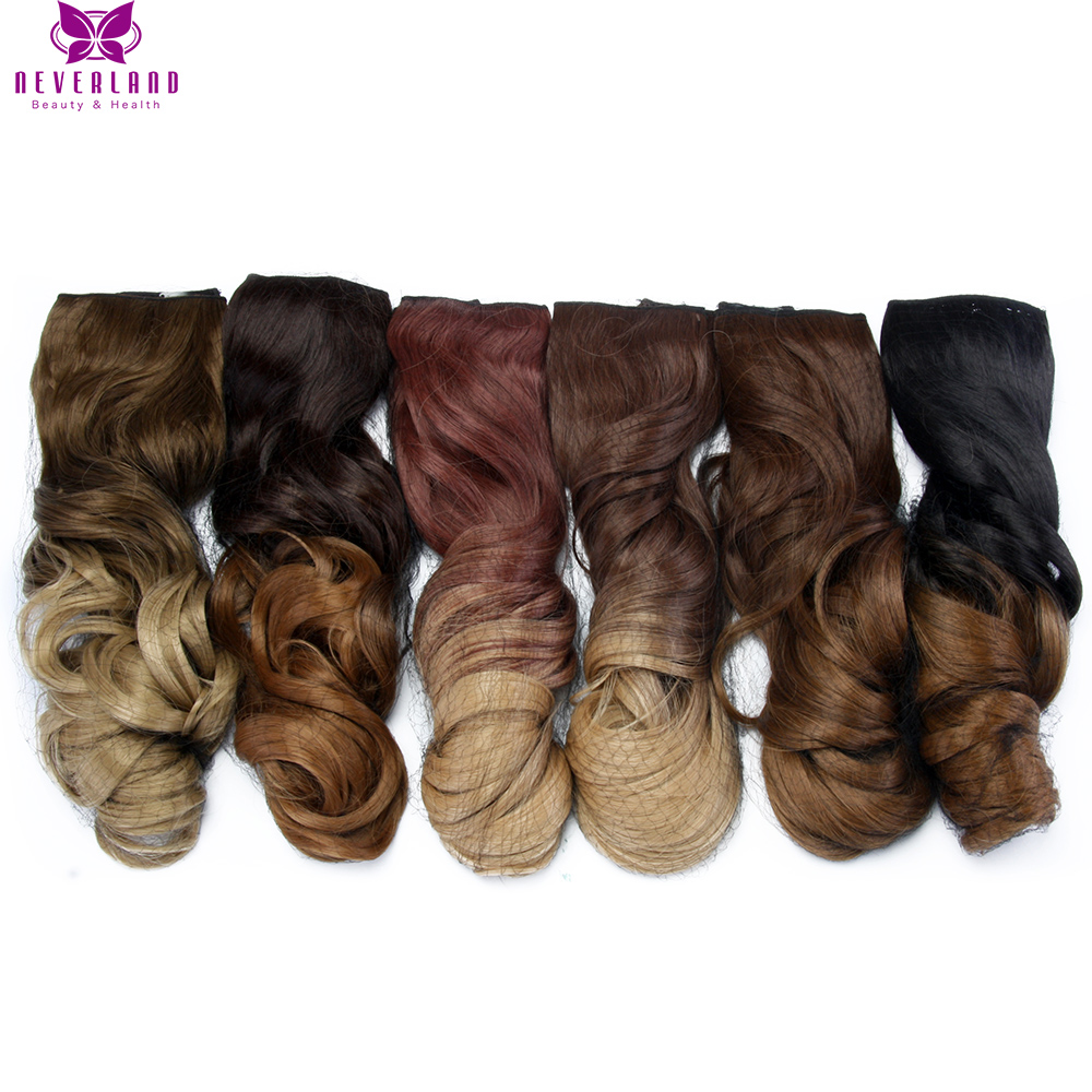 Neverland 20 16 Clips 7pcs set Natural Brown Blue Gray Purple Ombre Hairpiece Curly Synthetic Clip