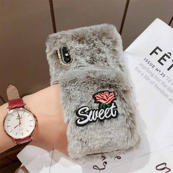 Hand Wrist Plush Winter Case for iPhone Xs Max Cases 3D Embroidery Rose Flower TPU Cover for iPhone XR Xs Diamond Hairy Coque iPhone XS
