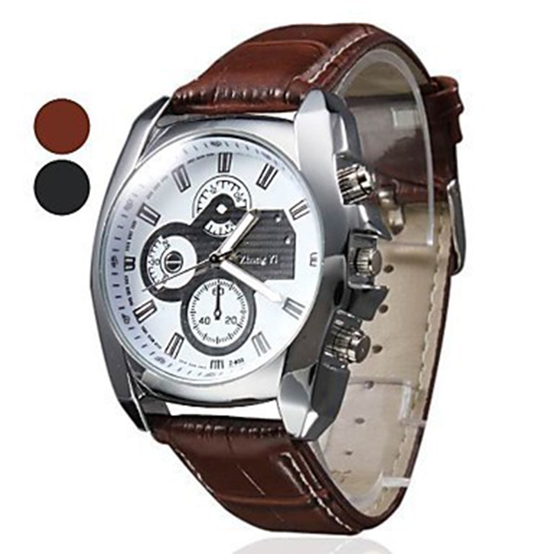 2015 New Three Eyes Clock Fashion Quartz Watch Men Sports Leather Strap Watches Casual Hours Wristwatches Brown Hot Sale weide new men quartz casual watch army military sports watch waterproof back light men watches alarm clock multiple time zone