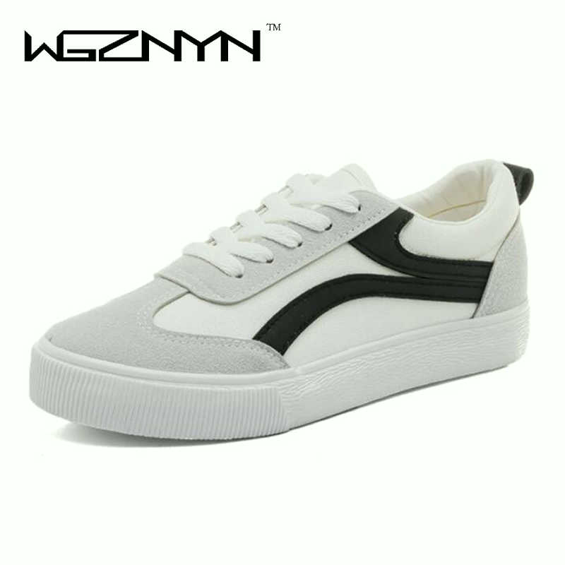 2018 women shoes new fashion casual platform striped PU leather classic cotton women casual lace-up white autumn sneakers W005