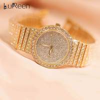 Lureen Luxury Full Diamond Quartz Watch Women Men Bling Crystal Watch Clock Gold Silver alloy Wristwatch