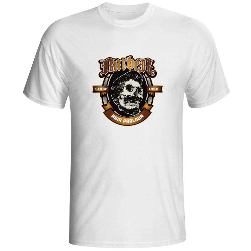 Hair Parlour Skull Barber T Shirt Fashion Brand Print T-shirt Funny Casual Hip Hop Unisex Tee