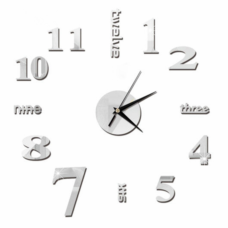 Large Quartz Clocks DIY Modern Watches Home Decorative Wall Clocks Acrylic Mirror Stickers Circular Wall Watch For Living Room