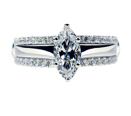 1ct set rings marquise cut synthetic diamonds ring solid 925 sterling silver ring white gold color engagement jewelry