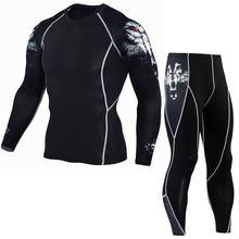 Мужские компрессионные беговые костюмы одежда спортивный комплект