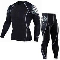 Men S Compression Run Jogging Suits Clothes Sports Set Long T Shirt And Pants Gym Fitness