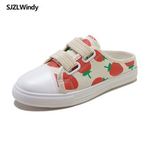 2019  web celebrity strawberry shoes female canvas students casual Korean version heelless half slippers tide
