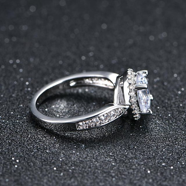 NEW 2 carat AAA Zircon Crystals wedding rings for women silver color engagement rings female anel fashion Jewelry top quality