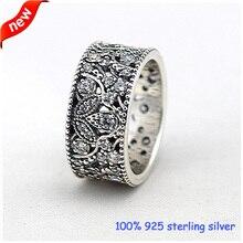 Compatible con la joyería europea Shimmering deja anillos de plata con CZ Original 925 anillos de plata DIY venta al por mayor 08R062