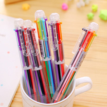 QSHOIC 50PCS/set Lovely Multi-color Ball-point Pen Stationery Multifunctional Press Ink Color or 6 In 1 Multi Colours Ball