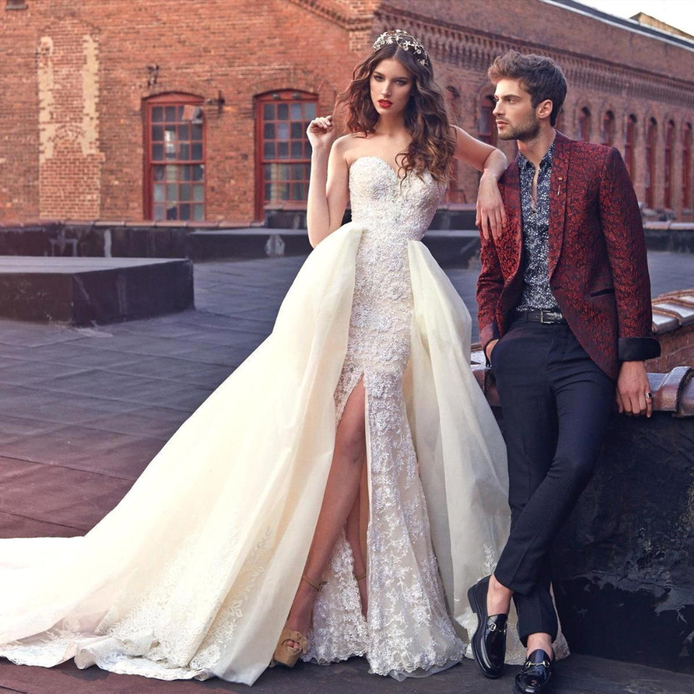 Unique bridal gown promotion shop for promotional unique bridal custom made long train lace wedding dresses front slit strapless sexy bridal wedding gowns 2017 vintage wedding dress handmade ombrellifo Image collections