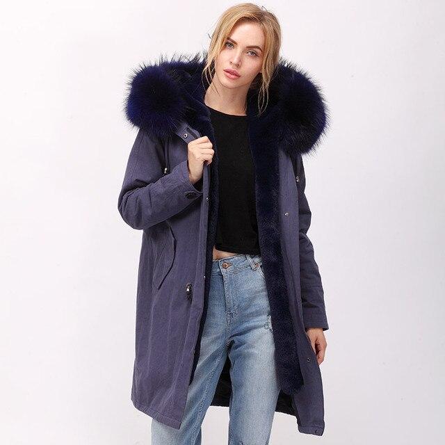 FAUX FUR parka women with natural raccoon fur