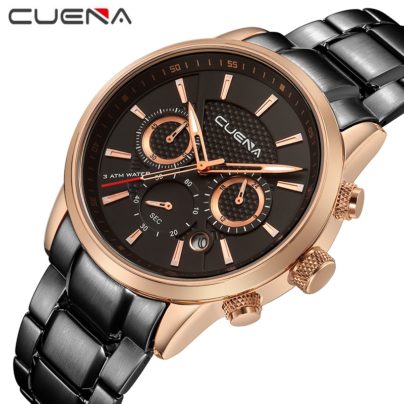 Men Fashion Quartz Chronograph Watch Stainless Steel Man Casual Wristwatches Top Luxury Brand CUENA Watches 6805G Military mens watches top brand luxury stainless steel analog display quartz watch men fashion casual wristwatches montre homme