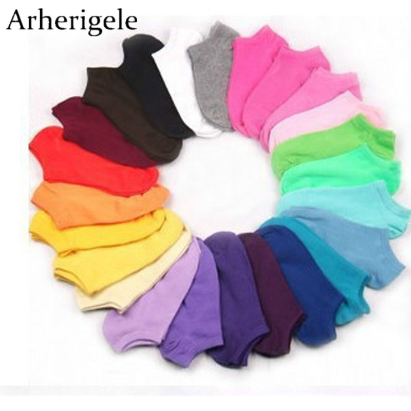 Arherigele 20pcs 10pair Colorful Invisible   Socks   Women Boat   Socks   Summer Cotton Elastic Ankle   Sock   for Female Cute Short   Socks