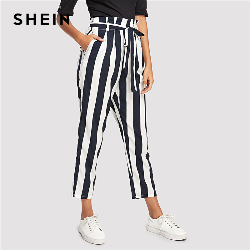 SHEIN Navy Elegant Workwear Office Lady Frill Trim High Waist Striped Tapered Self Belte ...