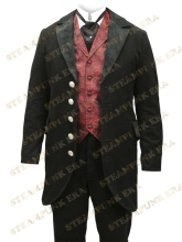 Free Shipping Fabulous Black Lapel Buttons Jazz Cloth Velvet Trim Mens Full Length Steampunk Coat