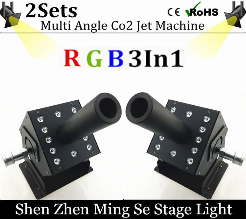 2pcs/lots 12x3w Led Multi Angle CO2 Jet DMX Adjustable Powercon Stage CO2 Device High Pressure Hose Multi Angle DJ CO2 Cannon