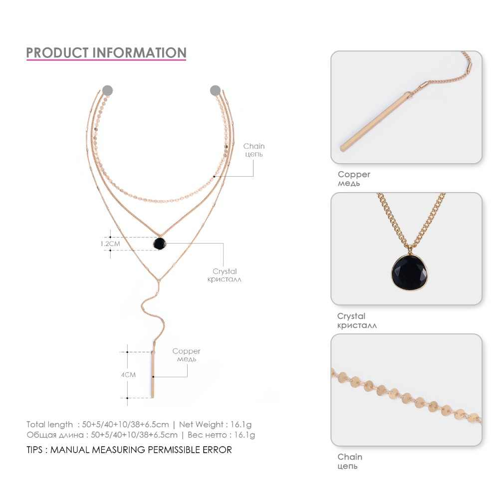 e-Manco Three Layers Choker Necklaces For Women Crystal Charm Long Statement Necklace Women Accessory Fashion Jewelry DropShip
