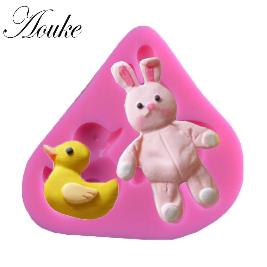 Aouke 1PCS Rabbit & Duck Shape Food Grade Silicone Soap, Chocolate, Cake Silicone Cake Molds, Fondant Cake Decorate X012