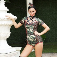 MQUPIN Instructor Camouflage Women Sexy Costume Fancy Women Army Green Bodysuit With Hat Clubwear Adult Game For Halloween