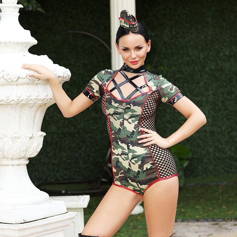 MQUPIN Instructor Camouflage <font><b>Women</b></font> <font><b>Sexy</b></font> <font><b>Costume</b></font> Fancy <font><b>Women</b></font> Army Green Bodysuit With Hat Clubwear Adult Game <font><b>For</b></font> <font><b>Halloween</b></font> image