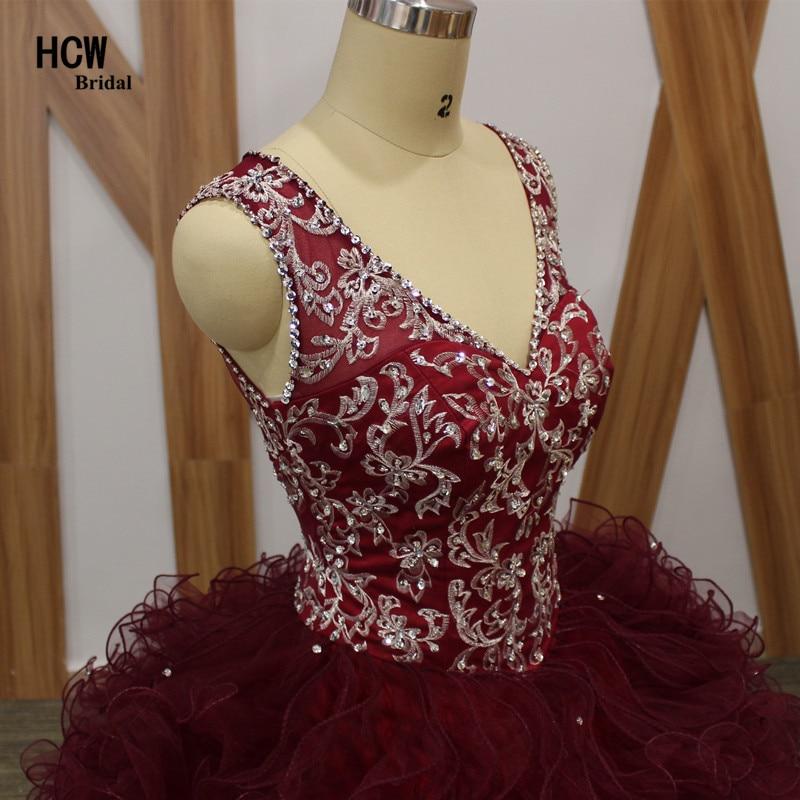 2019. aasta uus Burgundia Quinceanera kleit V-kaelusega varrukateta - Eriürituste kleidid - Foto 2