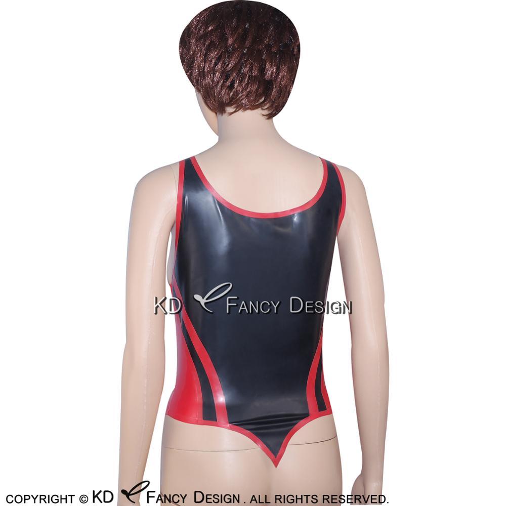 Noir avec garnitures rouges Sexy Latex chemise haute avec ceintures fermeture éclair à l'avant en caoutchouc sous-vêtements vêtements YF-0020 - 5