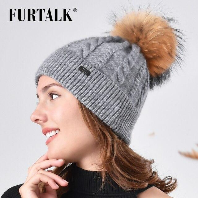 FURTALK piel Pompom Beanie sombrero de invierno para las mujeres de pelo de  conejo hecho punto a6553513908