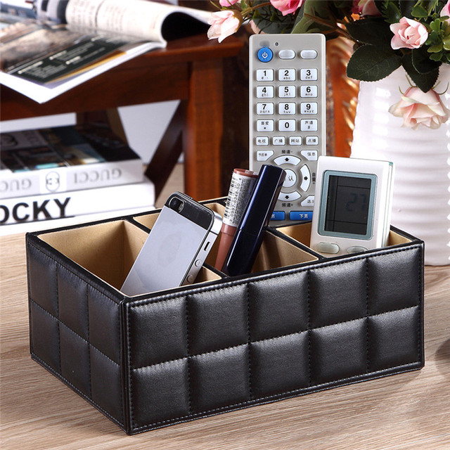 White/Black PU Leather Cosmetic Organizer Makeup Storage Box Remote Control Phone Holder Home Office Organizer Storage Case