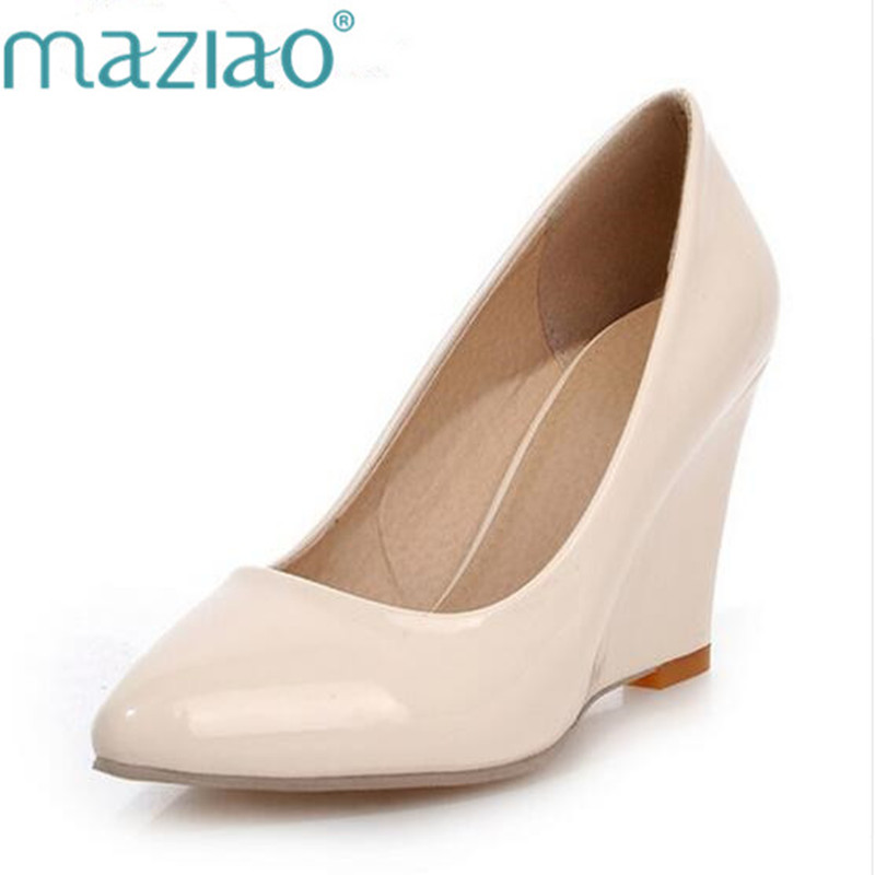 MAZIAO Women Pumps Wedge-Heel-Shoes Large-Size Apricot-Shoes Pointed-Toe 34-42 Plain