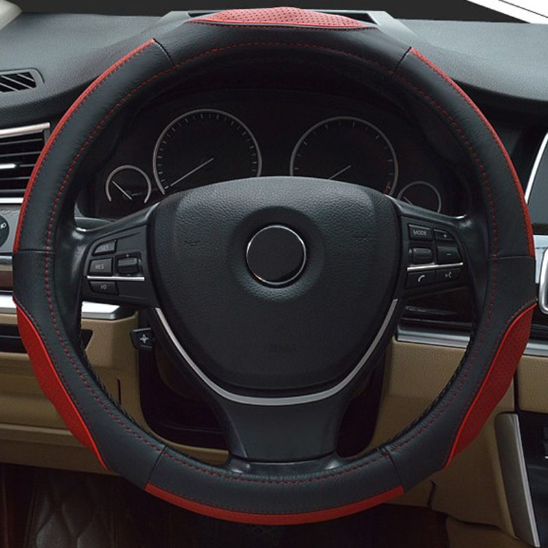 Free Shipping High Quality Cowhide Top Layer Leather Universal Steering Wheel Covers Protect 38CM 15 Inch