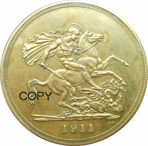 United kingdom 1911 Five 5 Pounds George V Coronation Gold Coin Brass Copy Coins