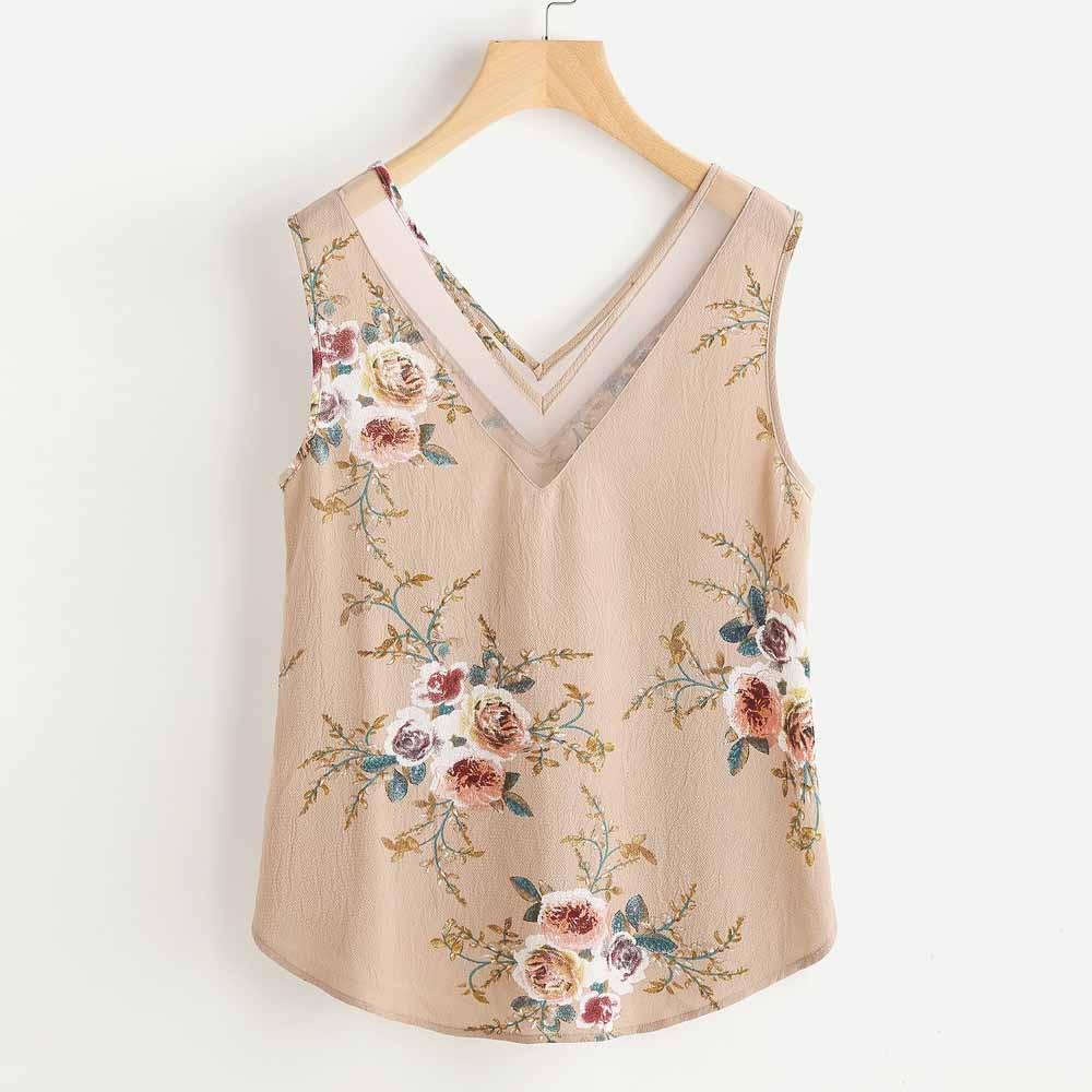 Women/'s Chiffon Shirt Flower Print Sleeveless V Neck Beach Tank Top Vest Blouse