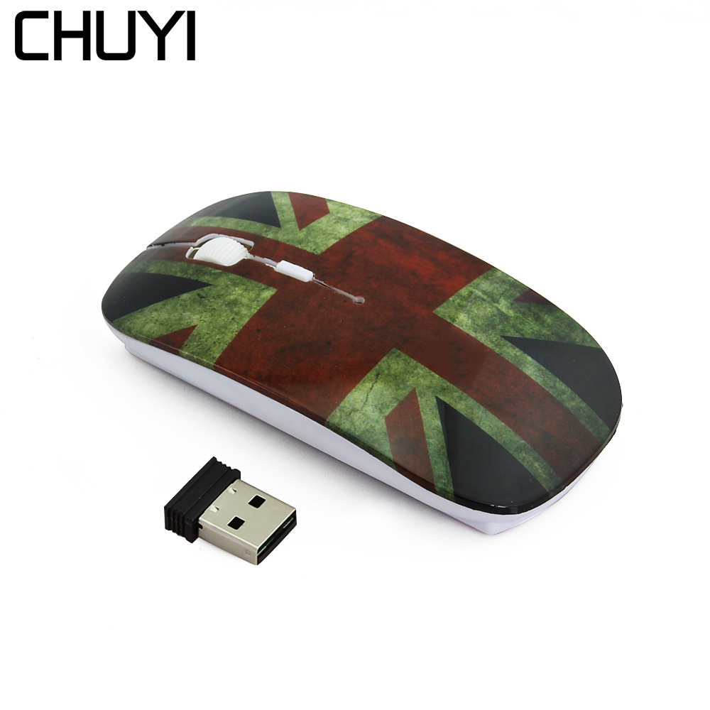 CHUYI Hello Kitty/Spider Web/British Flag Ultra Thin Wireless Mouse 1600 DPI USB Optical Slim Mause Computer Mice For Girl Gift